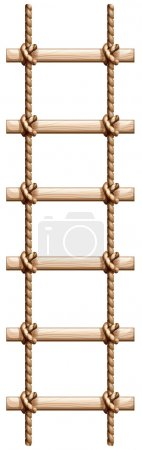 A ladder made of wood and rope