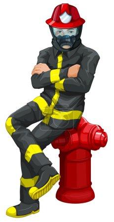 Illustration pour Illustration d'un pompier assis au-dessus de la bouche d'incendie sur fond blanc - image libre de droit