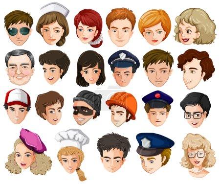 Photo pour Illustration des têtes d'un grand nombre de personnes de différentes professions sur fond blanc - image libre de droit
