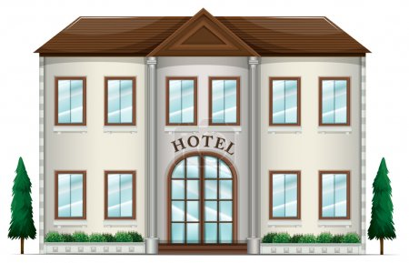 Illustration for Illustration of a hotel on a white background - Royalty Free Image