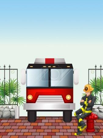 Illustration pour Illustration d'un pompier assis au-dessus d'une bouche d'incendie - image libre de droit