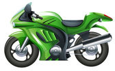 Illustration of a green motorcycle on a white background