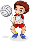 Illustration of an Asian volleyball player on a white background