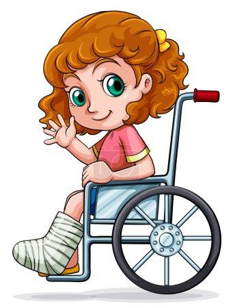 Illustration pour Illustration d'une fille caucasienne assise sur un fauteuil roulant sur fond blanc - image libre de droit