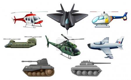 Ilustración de Ilustración de los transportes de guerra diferente sobre un fondo blanco - Imagen libre de derechos