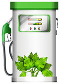 A gasoline pump with plants
