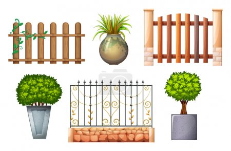 Wooden and steel fences with plants