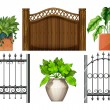 Illustration of the fences and plants on a white b...