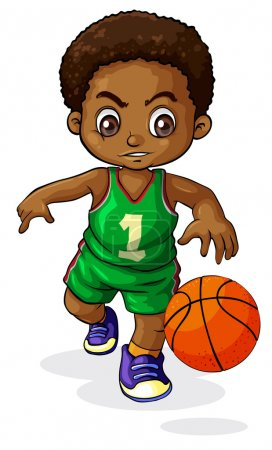 A young Black boy playing basketball