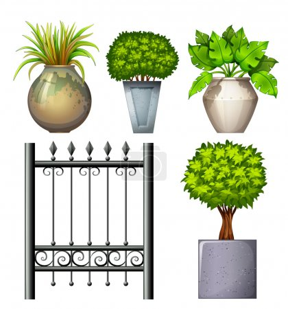 Illustration of a steel gate and potted plants on ...