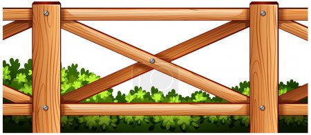 A wooden fence design with plants at the back