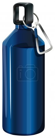 A blue bottle with a keychain