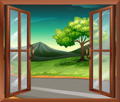 Illustration of a window of a house near the road