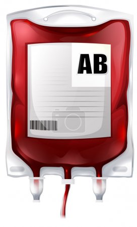 Illustration for Illustration of a blood bag with type AB blood on a white background - Royalty Free Image