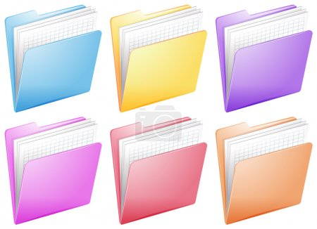 Illustration for Illustration of the medical nurse files in colorful folders on a white background - Royalty Free Image