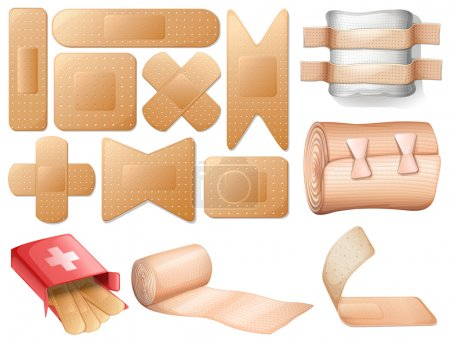 Illustration for Illustration of a medical first aid on a white background - Royalty Free Image