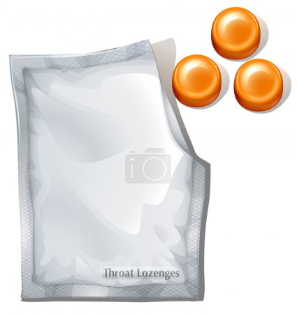 Illustration of the throat lozenges on a white bac...