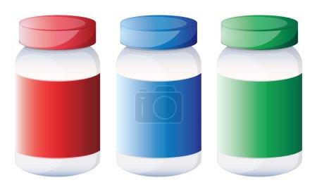 Colorful medical bottles