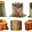 Illustration of the different tree stumps on a whi...