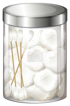 Illustration for Illustration of a container with cotton balls and cotton buds on a white background - Royalty Free Image