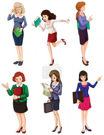 Illustration of the different businesswomen on a w...