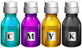 Bottles of colorful inks