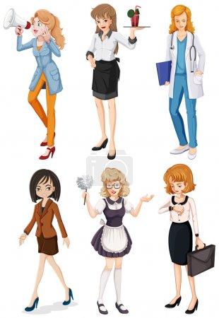 Photo pour Illustration des femmes ayant différentes professions sur fond blanc - image libre de droit