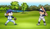 Illustration of the boys playing baseball