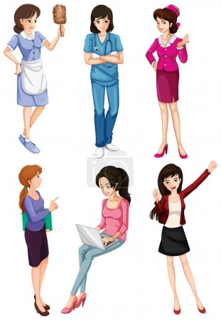 Photo pour Illustration des dames avec différentes professions sur fond blanc - image libre de droit