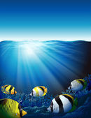 Illustration of the fishes under the sea with sunlight