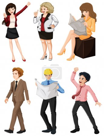 Photo pour Illustration des personnes ayant différentes professions sur fond blanc - image libre de droit