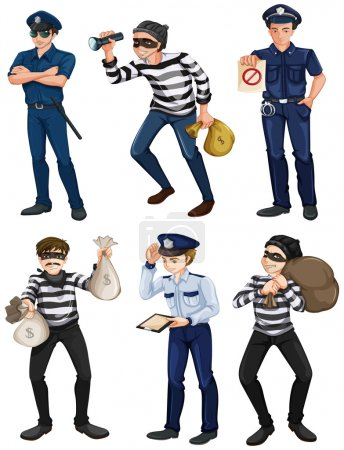 Illustration for Illustration of the police officers and robbers on a white background - Royalty Free Image