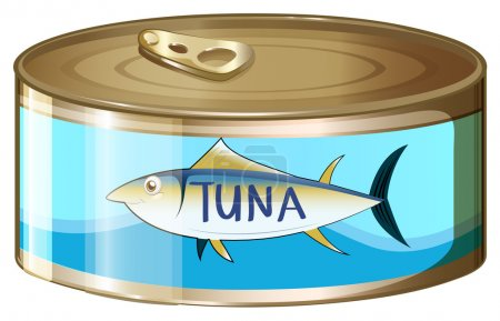 Illustration for Illustration of a can of tuna on a white background - Royalty Free Image