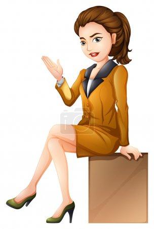 A businesswoman sitting down