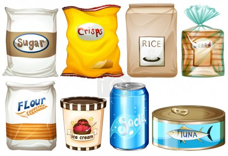 Illustration for Illustration of the different kind of foods on a white background - Royalty Free Image