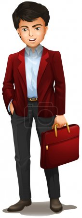 A businessman with a red attache case
