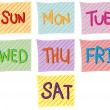 Illustration of the seven days of the week on a wh...