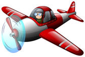 A red vintage plane with a pilot