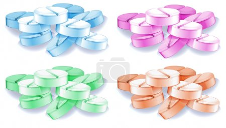Illustration for Lllustration of the coloured pills on a white background - Royalty Free Image