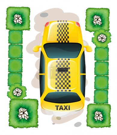 A topview of a yellow taxi