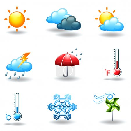 Illustration for Illustration of the different weather conditions on a white background - Royalty Free Image