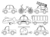 Illustration of the different kinds of transportations on a white background
