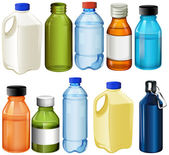 Illustration of the different bottles on a white background
