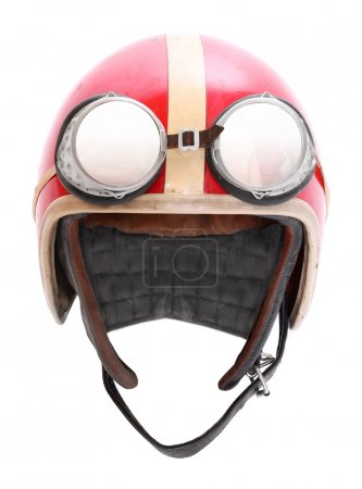 Photo for Retro helmet with goggles on a white background. - Royalty Free Image
