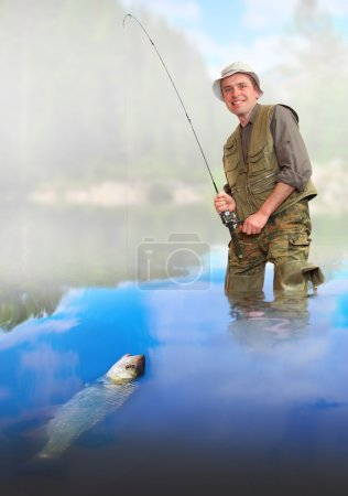 The fisherman catching a fish.