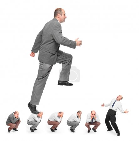Photo pour Homme d'affaires prospère. image conceptuelle - métaphore de rivalités commerciales. - image libre de droit