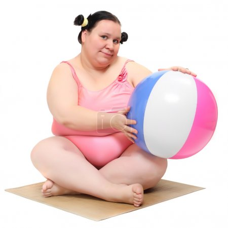 Funny woman with ball
