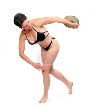 Discus throwing athlete