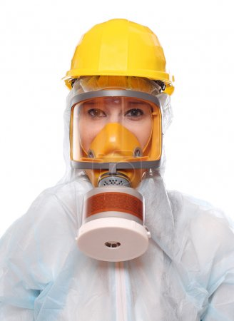 Asian woman in gas mask and bio-hazard suit