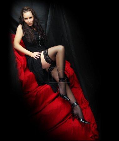 Low key lighting studio shot young beautiful women